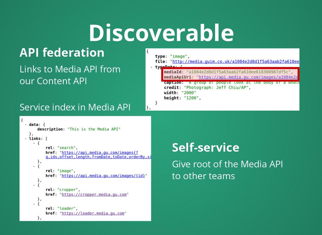 Discoverable Discoverable API federation API fe...