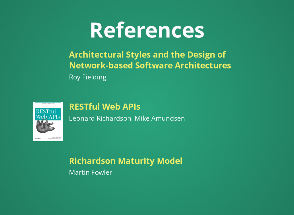 References References Leonard Richardson, Mike ...