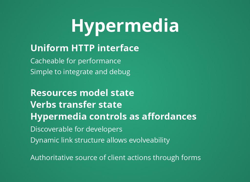 Hypermedia Hypermedia Uniform HTTP interface Un...