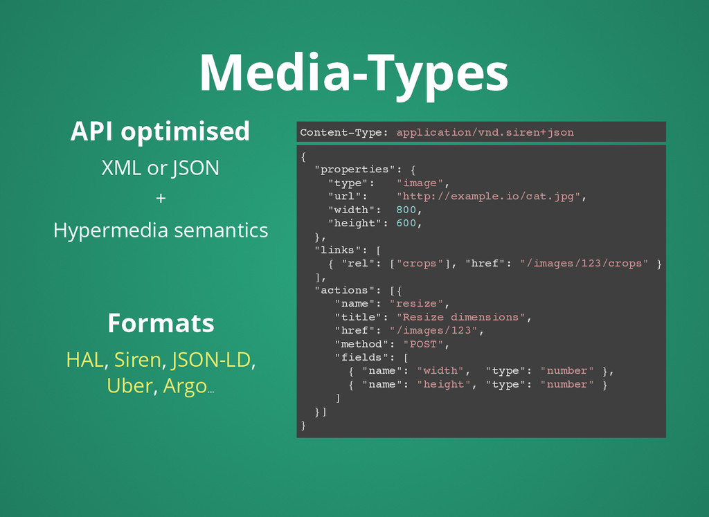 API optimised API optimised XML or JSON + Hyper...