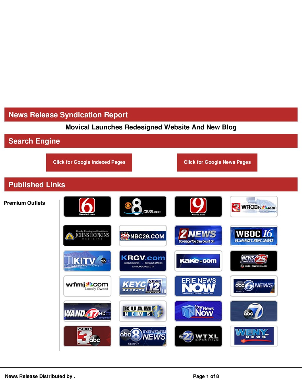 News Release Syndication Report Movical Launche...