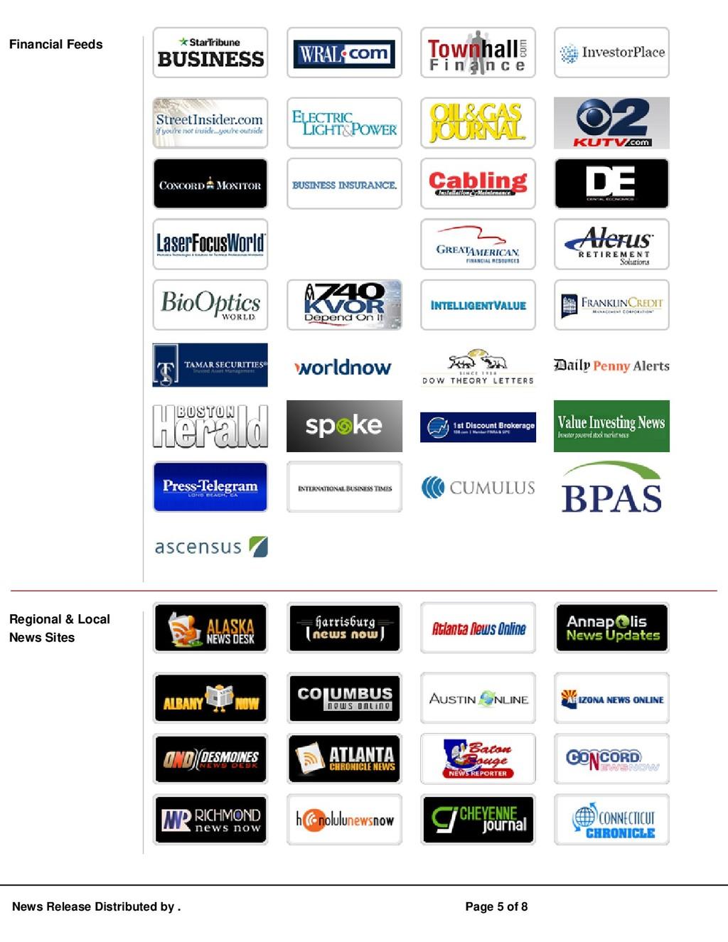 Financial Feeds Regional & Local News Sites New...