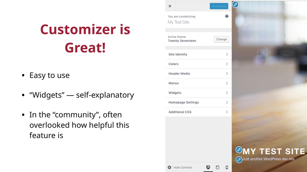"""Customizer is Great! • Easy to use • """"Widgets"""" ..."""