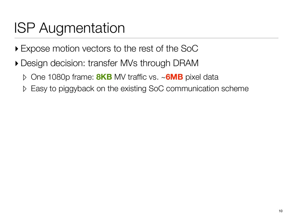 ISP Augmentation ▸ Expose motion vectors to the...