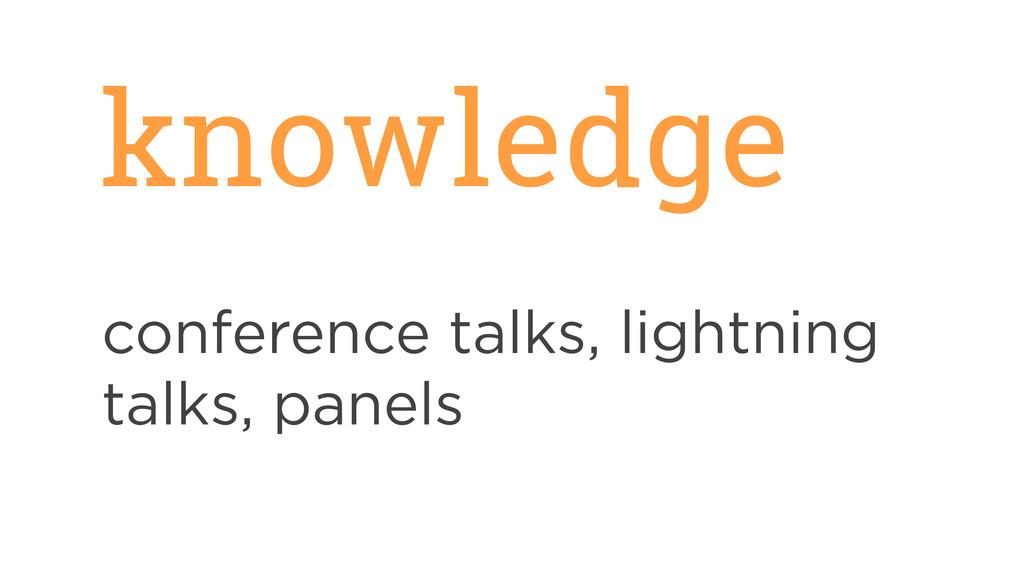 knowledge conference talks, lightning talks, pa...