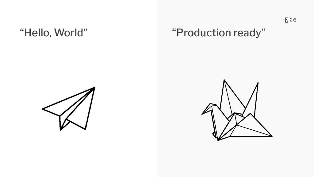 """""""Hello, World"""" """"Production ready"""""""