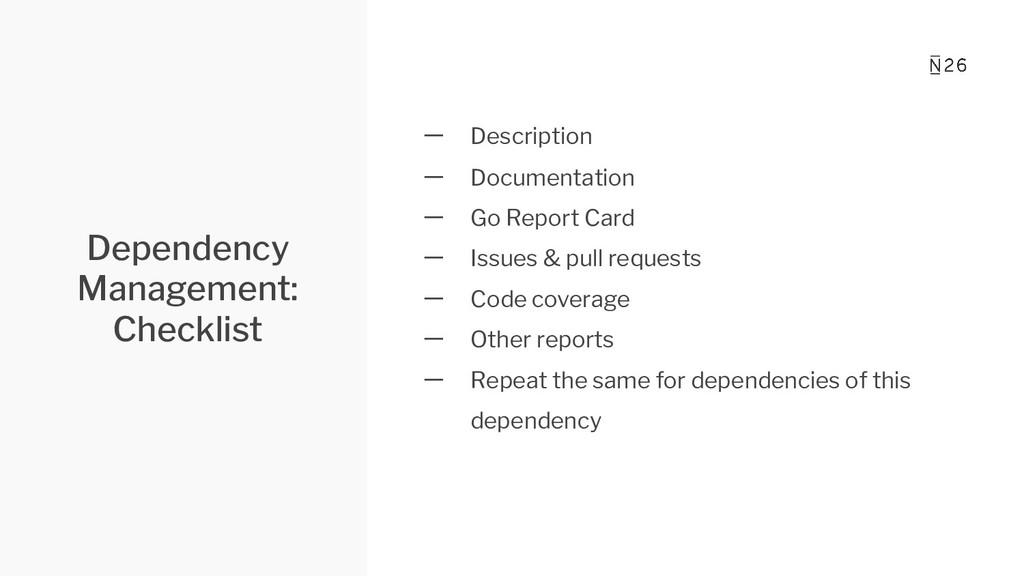 Dependency Management: Checklist 一 Description ...
