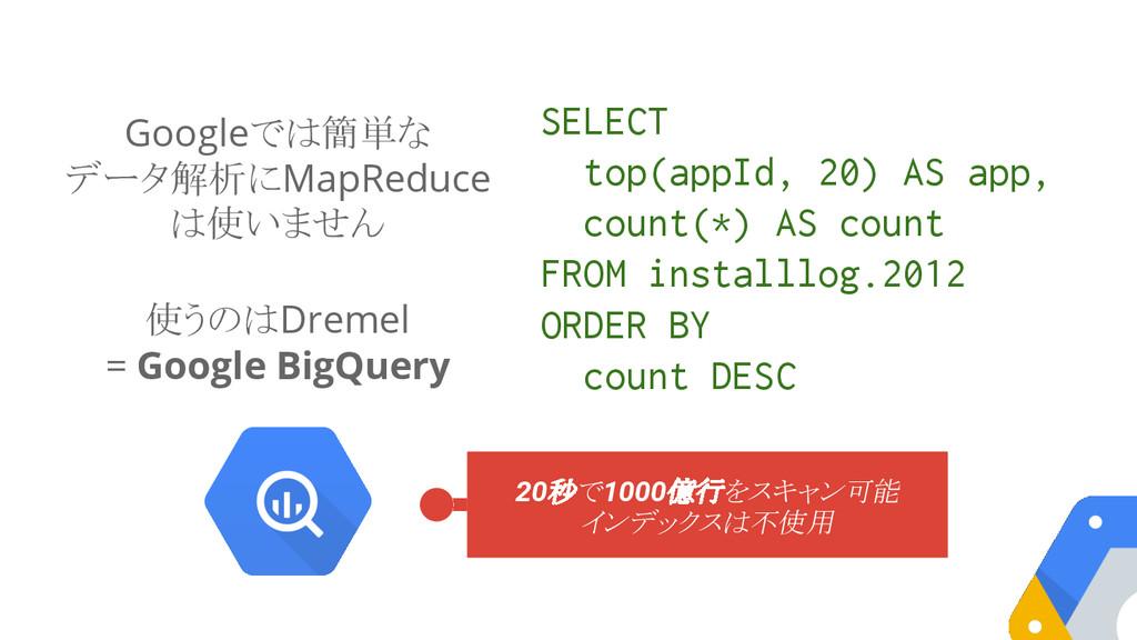 Googleでは簡単な データ解析にMapReduce は使いません 使うのはDremel =...