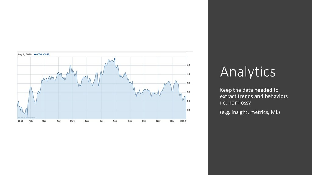 Analytics Keep the data needed to extract trend...