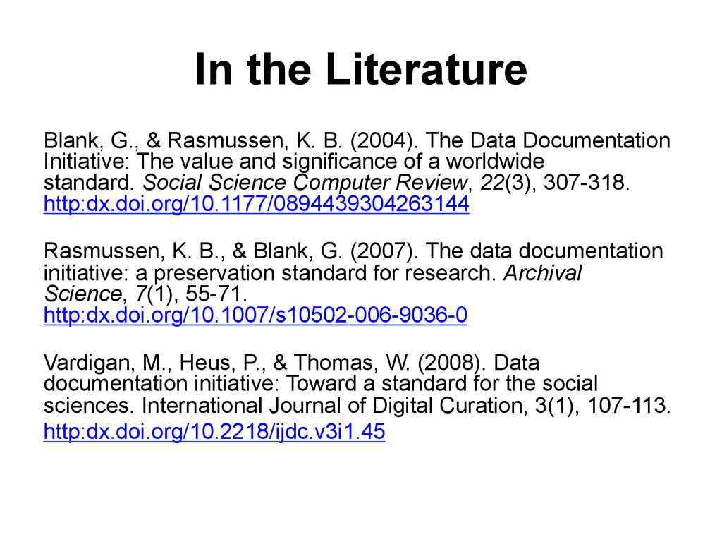 In the Literature Blank, G., & Rasmussen, K. B....