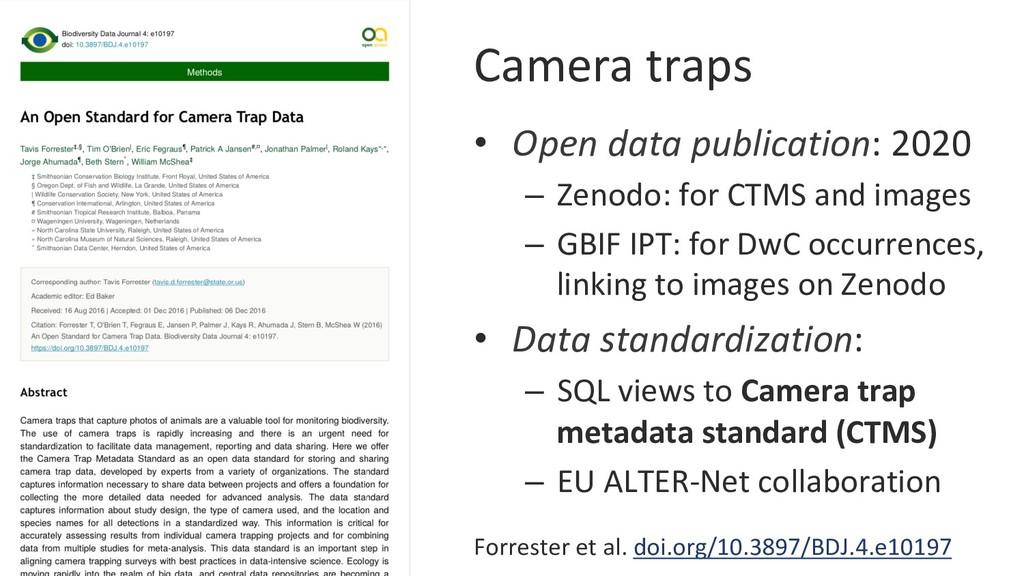 Camera traps • Open data publication: 2020 – ...