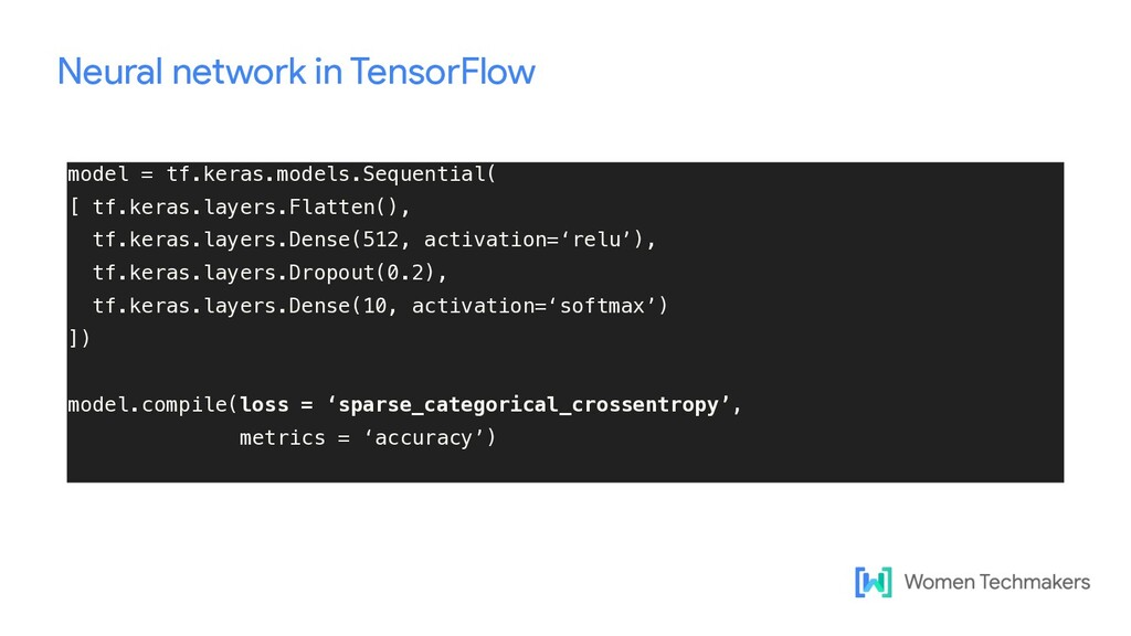 Neural network in TensorFlow model = tf.keras.m...
