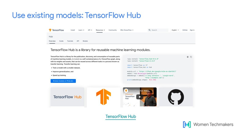 Use existing models: TensorFlow Hub TensorFlow ...