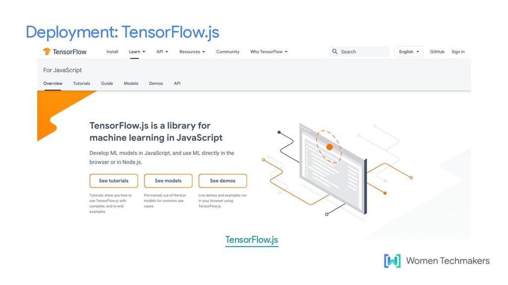 Deployment: TensorFlow.js TensorFlow.js