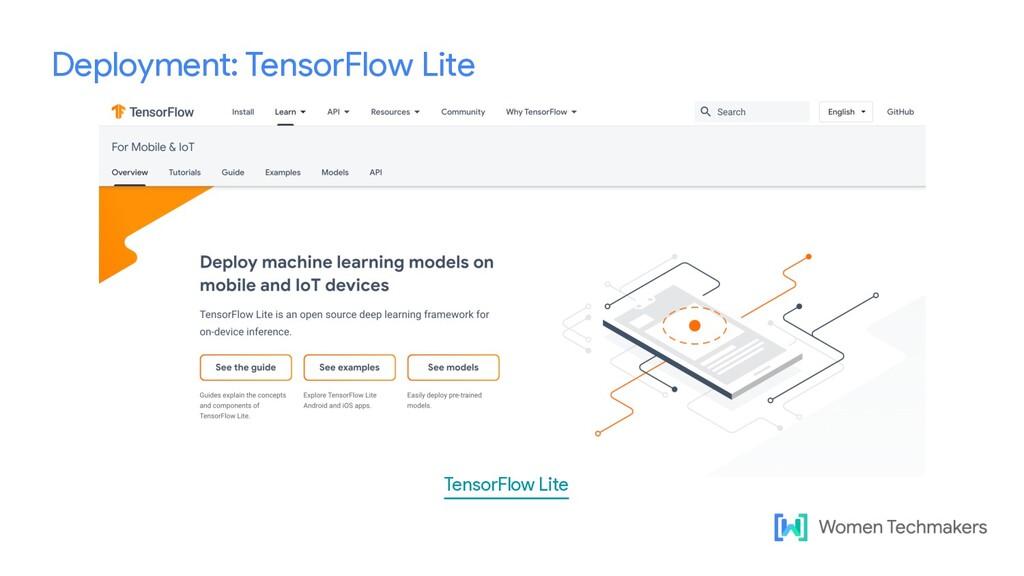 Deployment: TensorFlow Lite TensorFlow Lite