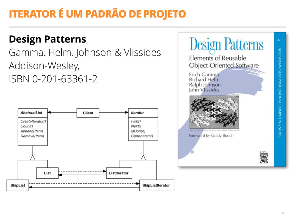 ITERATOR É UM PADRÃO DE PROJETO Design Patterns...
