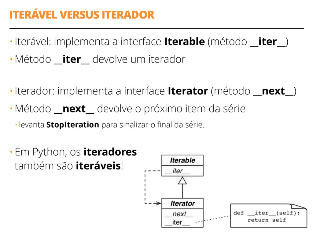 ITERÁVEL VERSUS ITERADOR 19 • Iterável: impleme...