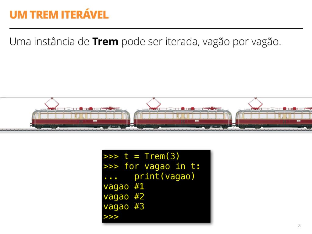 UM TREM ITERÁVEL Uma instância de Trem pode ser...