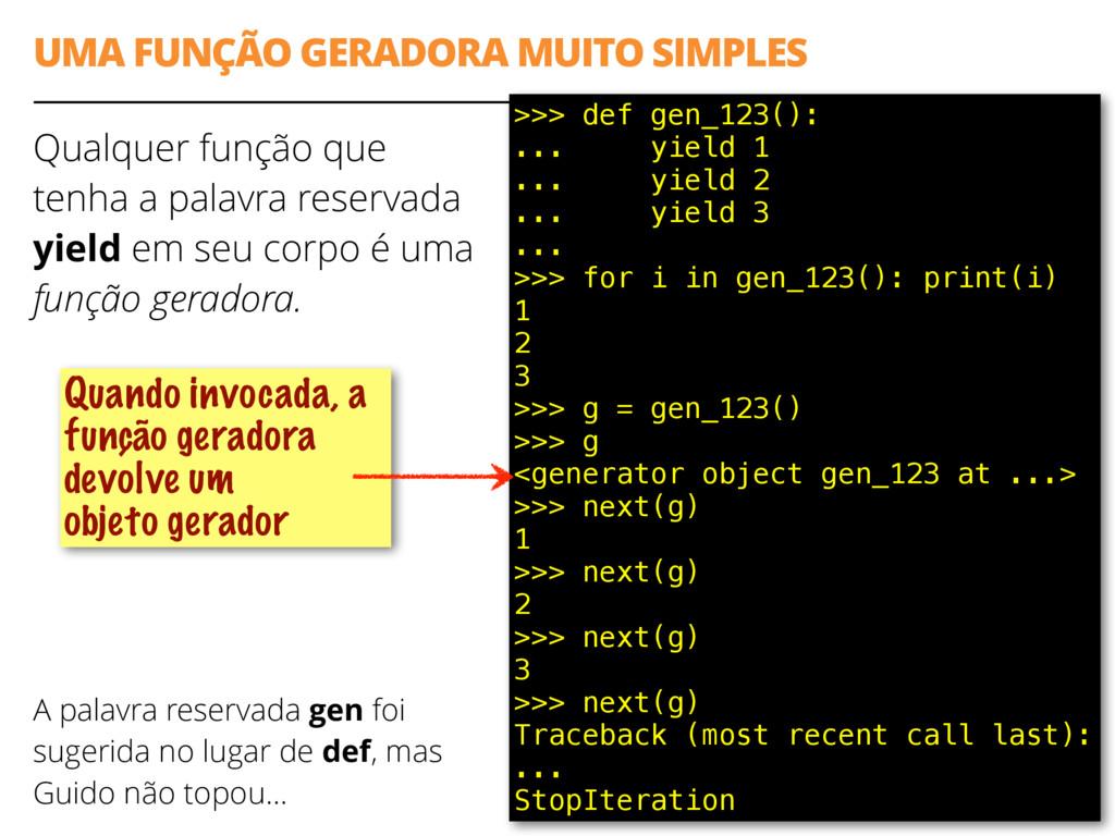 UMA FUNÇÃO GERADORA MUITO SIMPLES Qualquer funç...