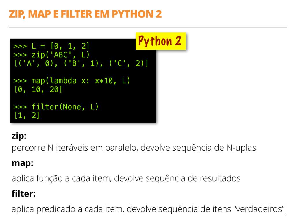 ZIP, MAP E FILTER EM PYTHON 2 5 >>> L = [0, 1, ...