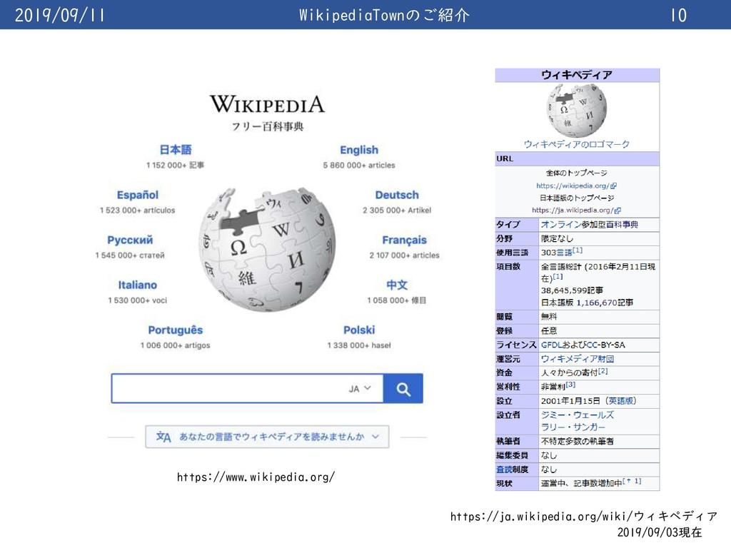 2019/09/11 WikipediaTownのご紹介 10 https://www.wik...