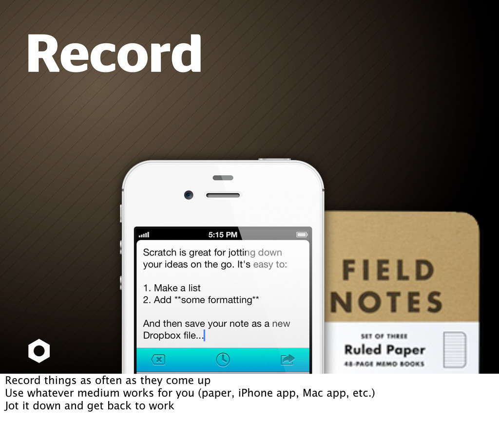 Record Record things as often as they come up U...