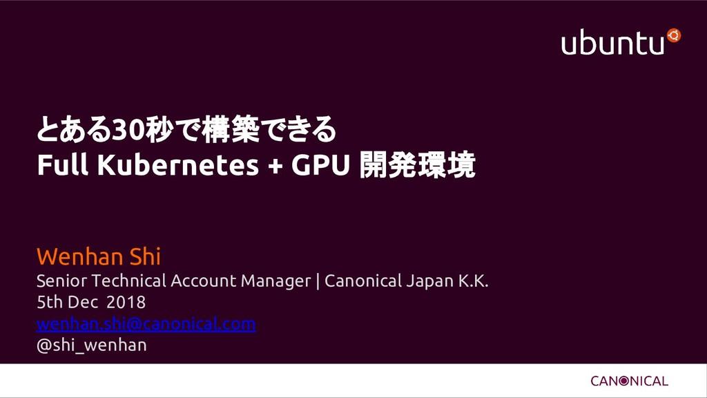 とある30秒で構築できる Full Kubernetes + GPU 開発環境 Wenhan ...
