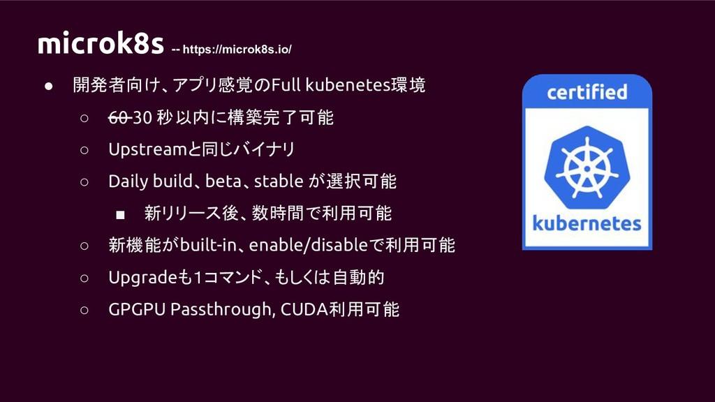 microk8s -- https://microk8s.io/ ● 開発者向け、アプリ感覚の...