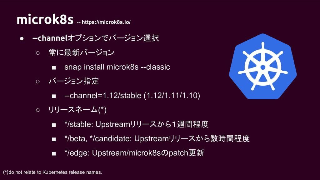 microk8s -- https://microk8s.io/ ● --channelオプシ...