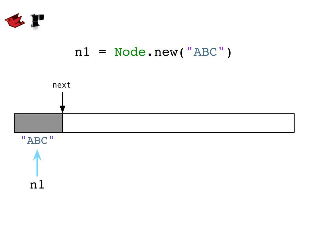 """n1 = Node.new(""""ABC"""") n1 next """"ABC"""""""