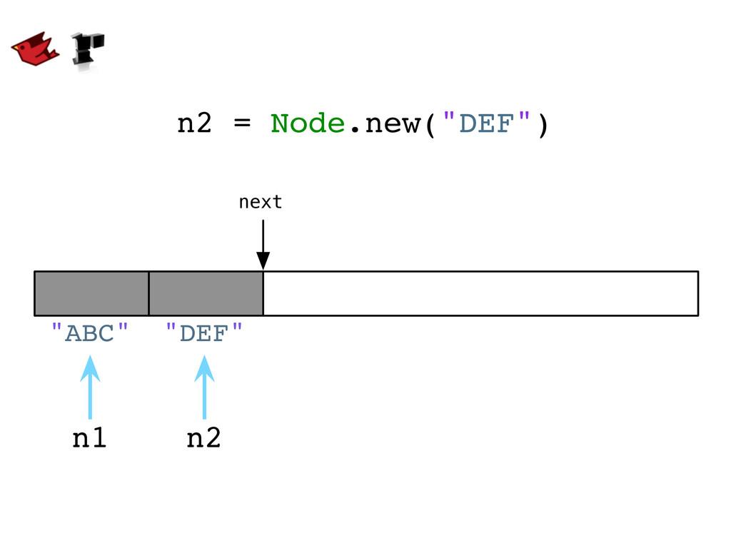 """n2 = Node.new(""""DEF"""") next n1 """"ABC"""" n2 """"DEF"""""""