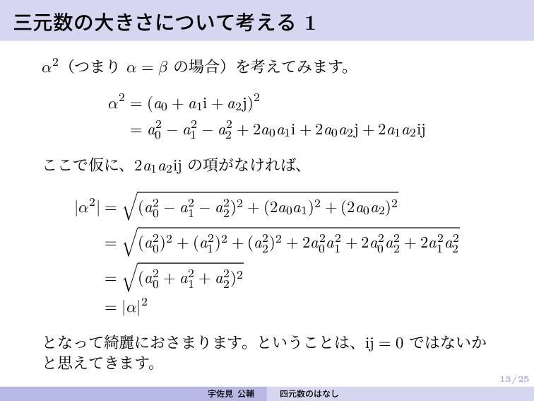 13/25 三元数の大きさについて考える 1 α2(つまり α = β の場合)を考えてみます...