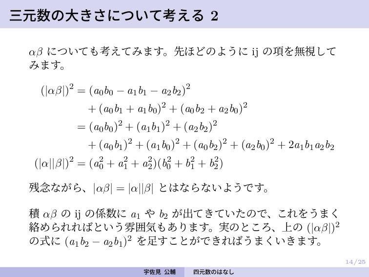 14/25 三元数の大きさについて考える 2 αβ についても考えてみます。先ほどのように i...