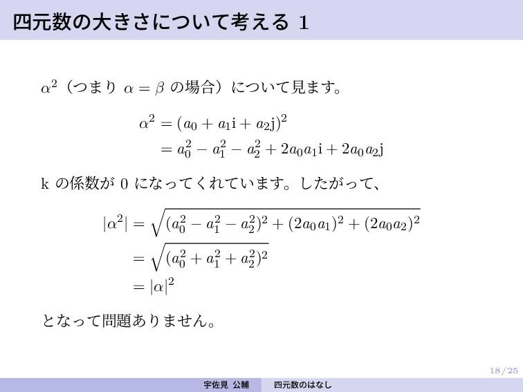 18/25 四元数の大きさについて考える 1 α2(つまり α = β の場合)について見ます...