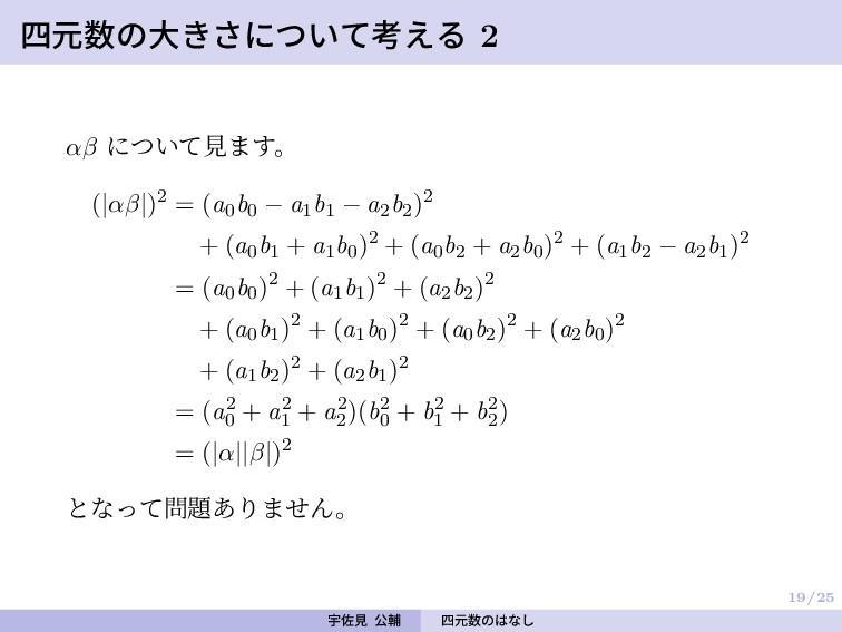 19/25 四元数の大きさについて考える 2 αβ について見ます。 (|αβ|)2 = (a...