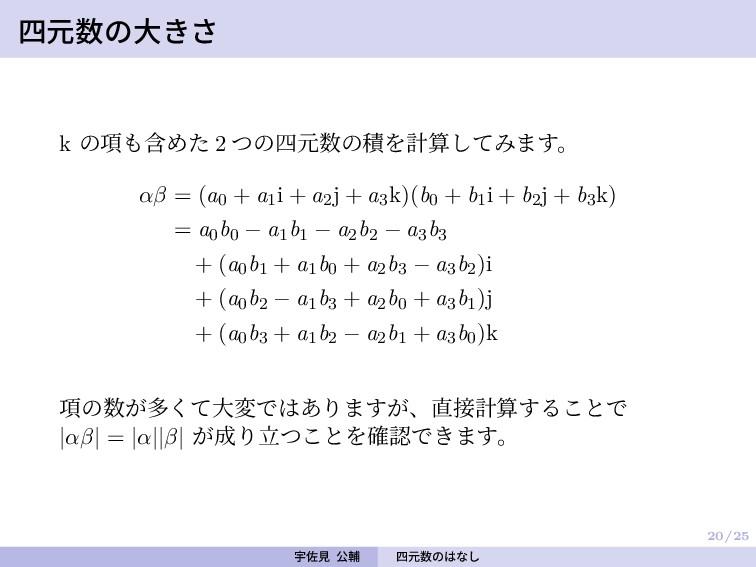 20/25 四元数の大きさ k の項も含めた 2 つの四元数の積を計算してみます。 αβ = ...