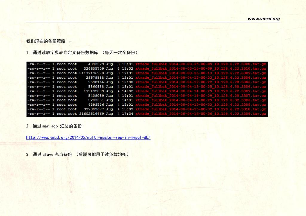 www.vmcd.org 我们现在的备份策略 – 1. 通过读取字典表自定义备份数据库 (每天...