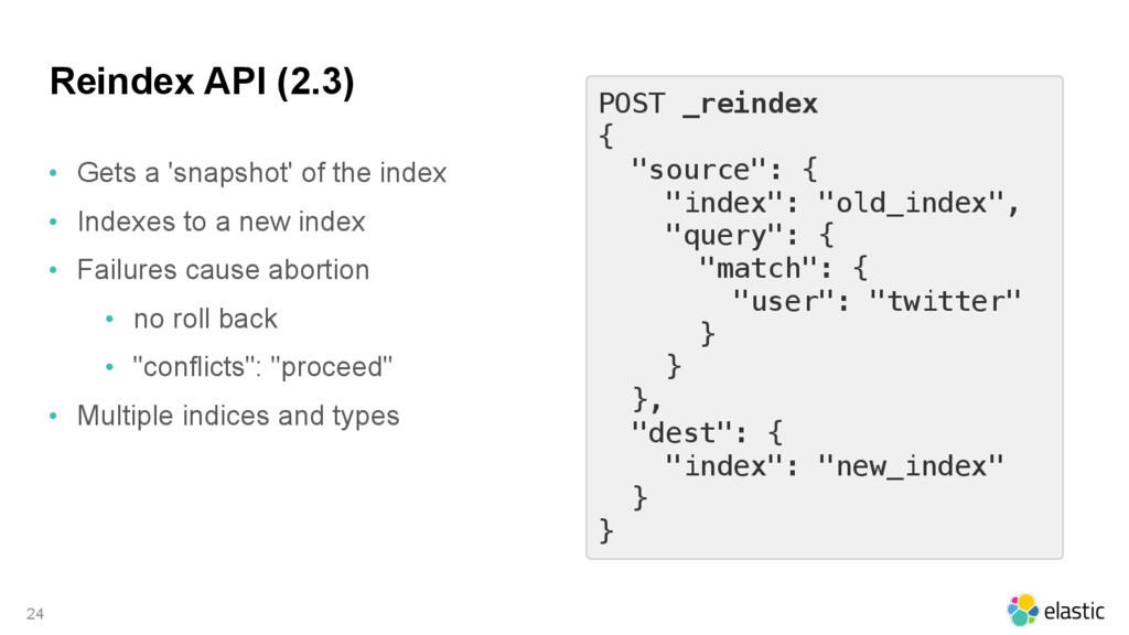 Reindex API (2.3) • Gets a 'snapshot' of the in...