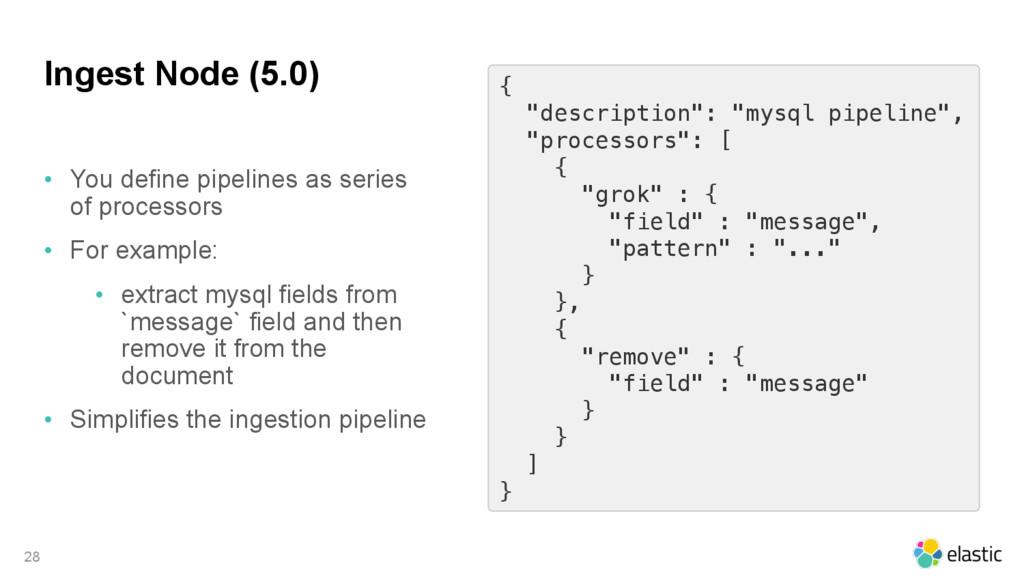 """Ingest Node (5.0) 28 { """"description"""": """"mysql pi..."""