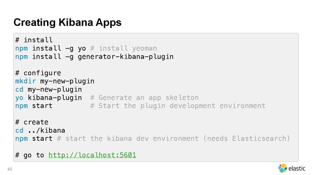 Creating Kibana Apps 45 # install npm install -...