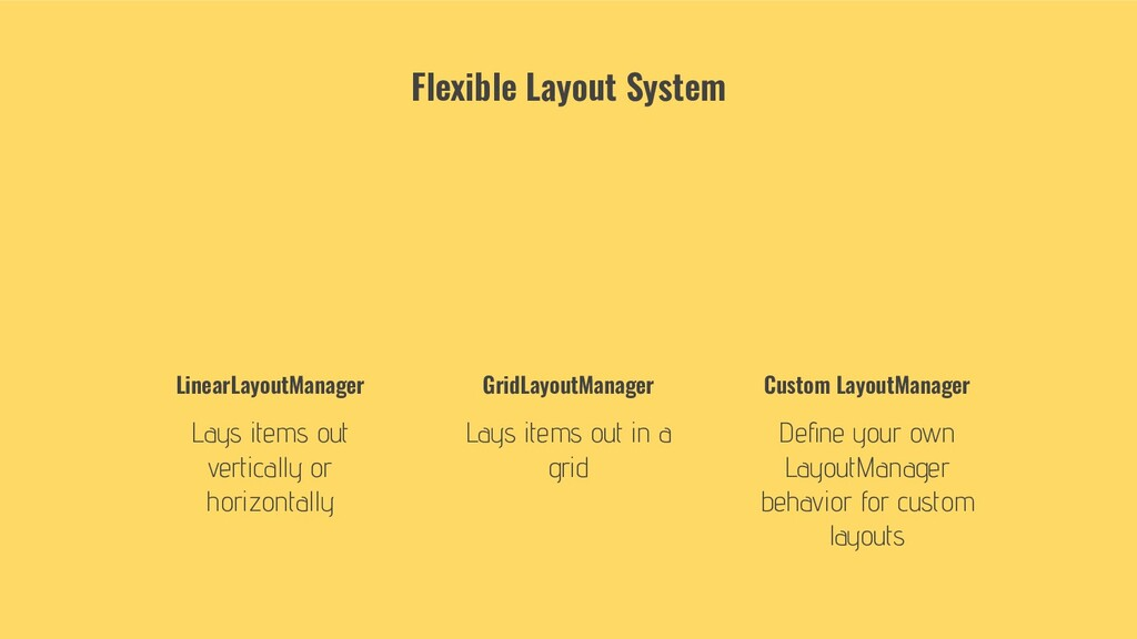 LinearLayoutManager Lays items out vertically o...