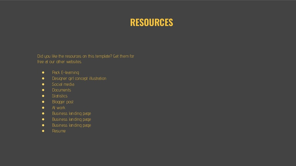 RESOURCES Did you like the resources on this te...