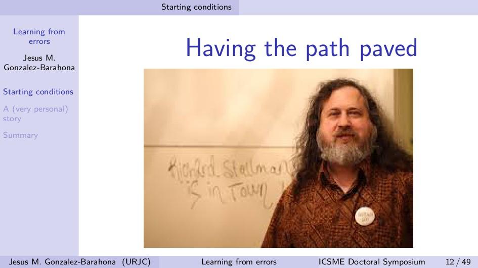 Learning from errors Jesus M. Gonzalez-Barahona...