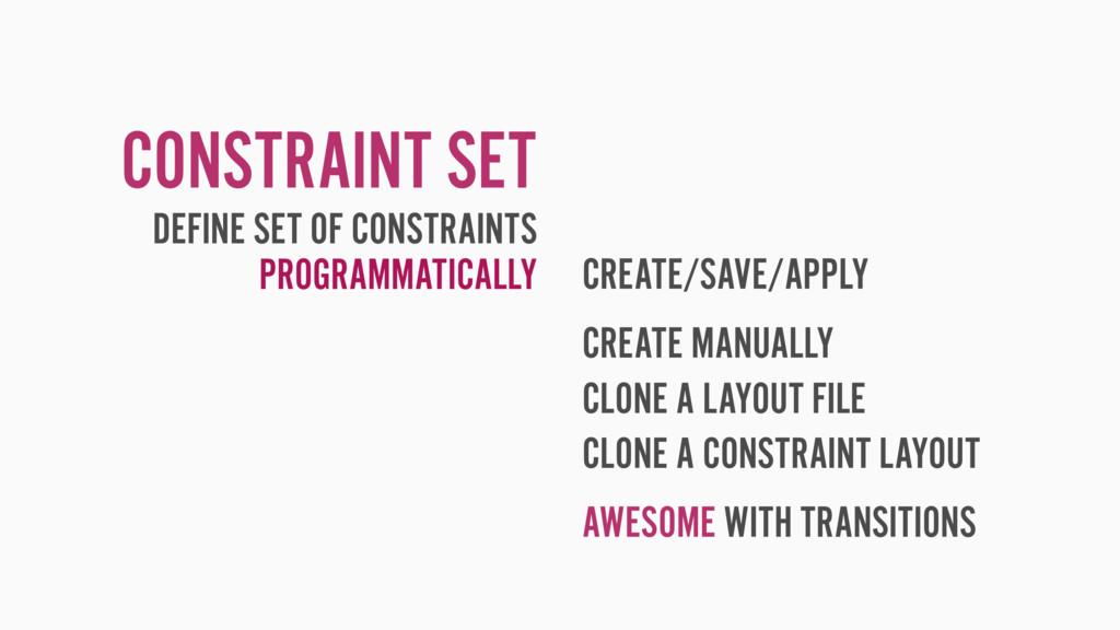 CONSTRAINT SET CREATE/SAVE/APPLY CREATE MANUALL...
