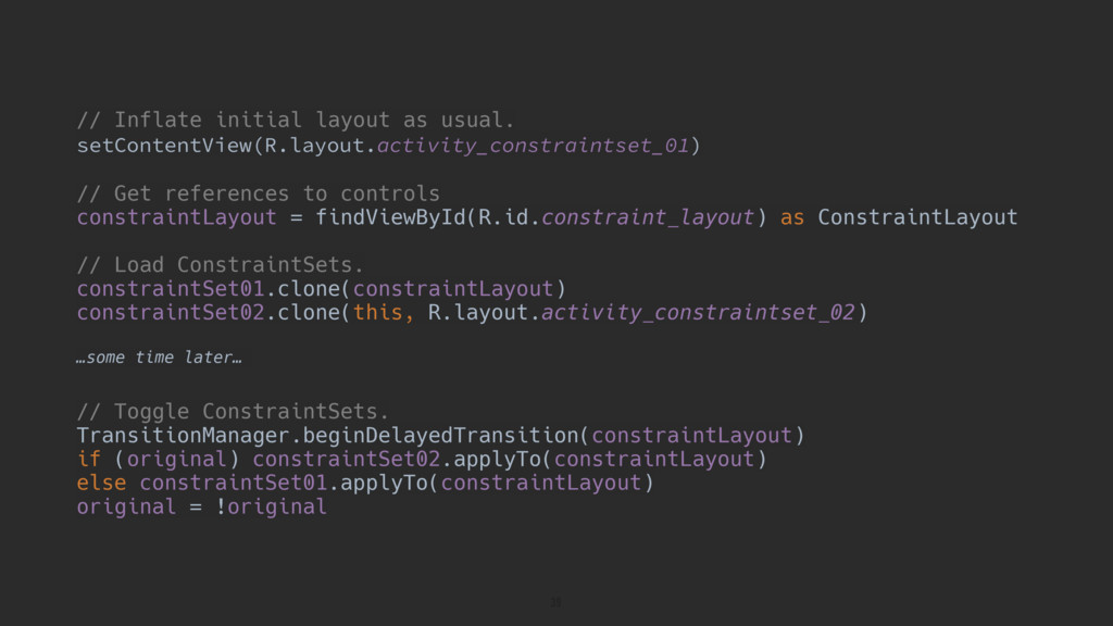// Inflate initial layout as usual. setContentV...