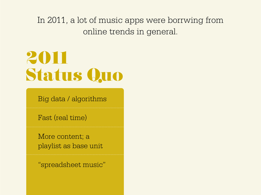 In 2011, a lot of music apps were borrwing from...