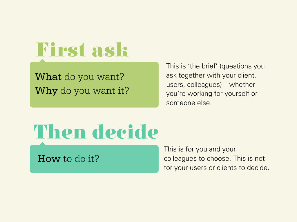 What do you want? Why do you want it? First ask...