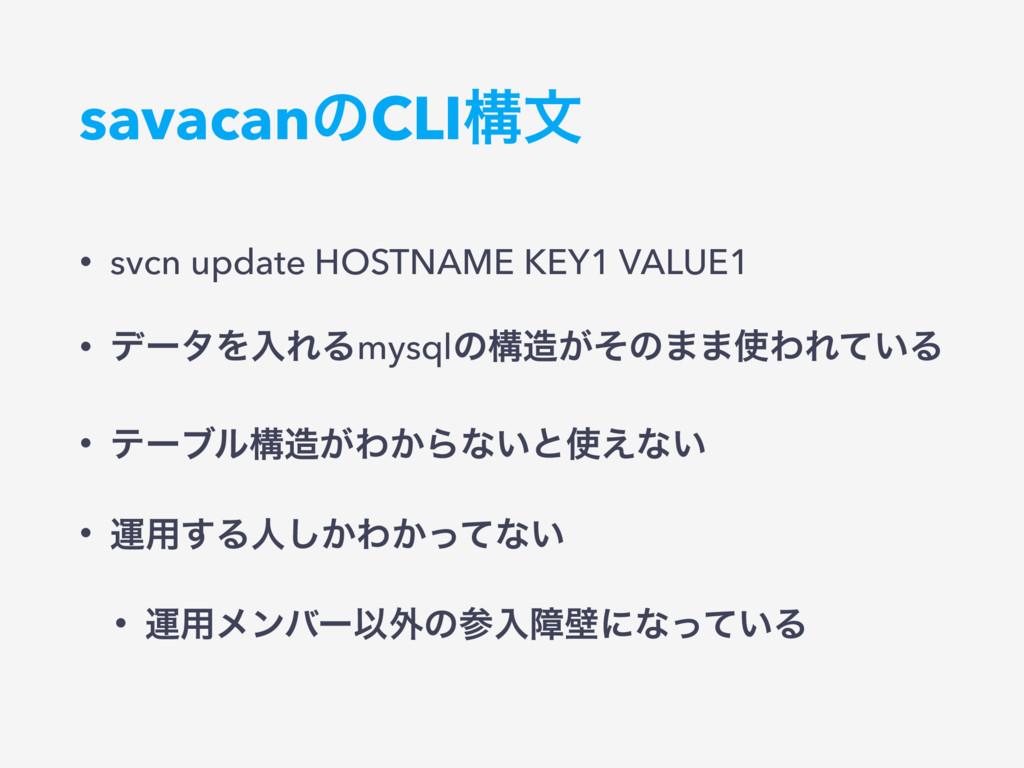 savacanͷCLIߏจ • svcn update HOSTNAME KEY1 VALUE...
