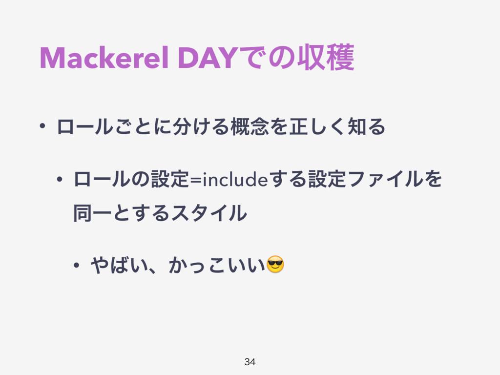 Mackerel DAYͰͷऩ֭ • ϩʔϧ͝ͱʹ͚Δ֓೦Λਖ਼͘͠Δ • ϩʔϧͷઃఆ=i...