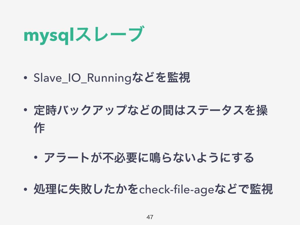 mysqlεϨʔϒ • Slave_IO_RunningͳͲΛࢹ • ఆόοΫΞοϓͳͲͷ...